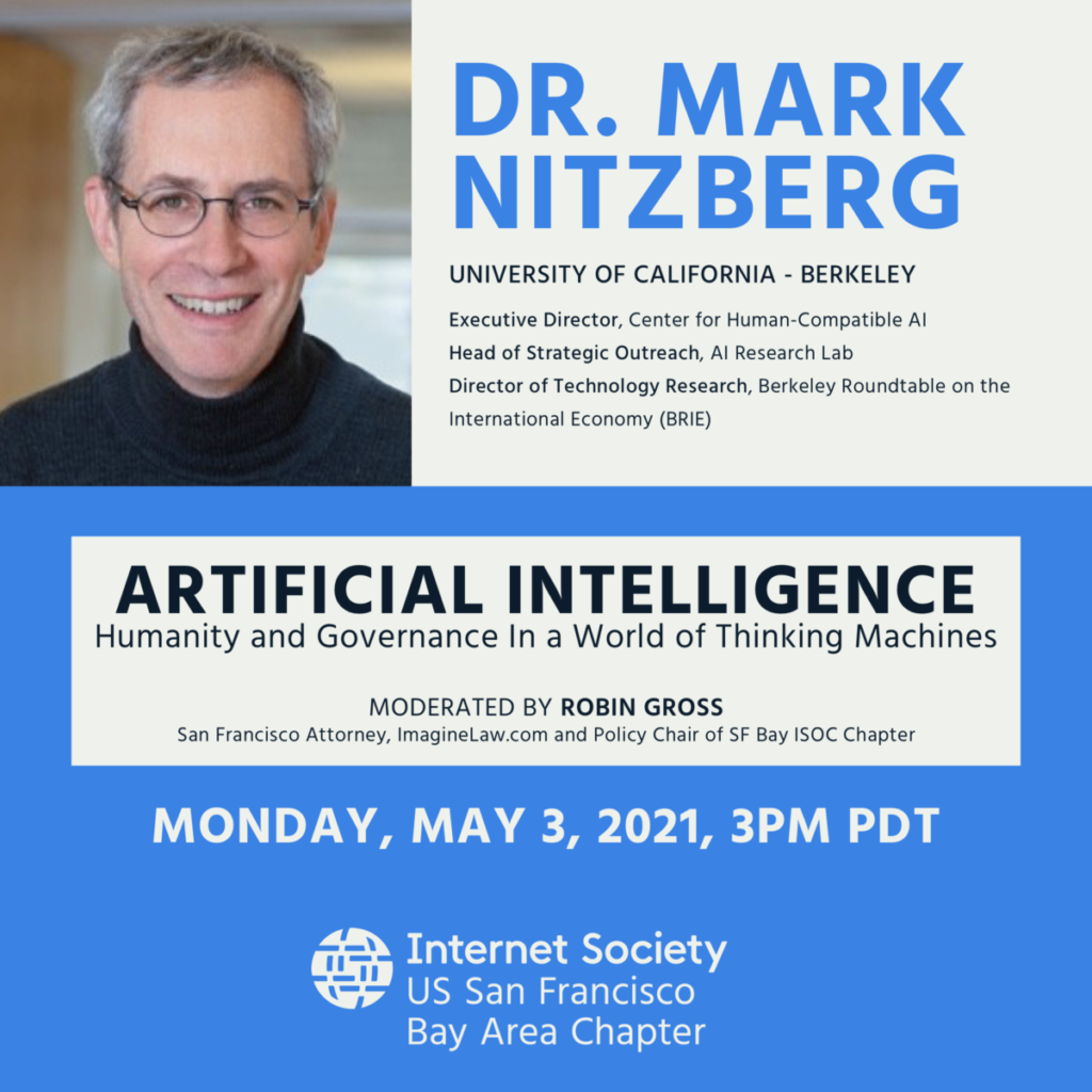 Dr. Mark Nitzberg webinar with Internet Society Bay Area Chapter on Monday, May 3, 2001 at 3pm PDT